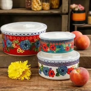 Pioneer Woman 6-Piece Ceramic Bowl Containers Lids
